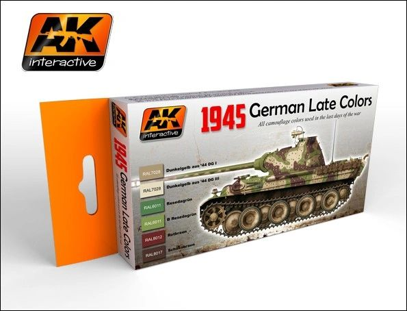 1945 German Late War Acrylic Paint Set (6 Colors) 17ml Bottles - AK Interactive 554