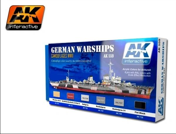 WWII German Warships Camouflages Acrylic Paint Set (6 Colors) 17ml Bottles - AK Interactive 559