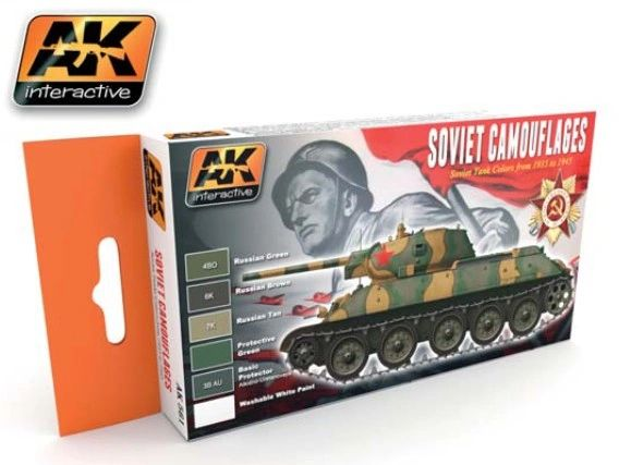 Soviet Tank Camouflage 1935-1945 Acrylic Paint Set (6 Colors) 17ml Bottles - AK Interactive 561