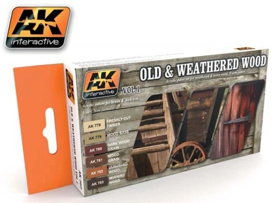 Old & Weathered Wood Vol.1 Acrylic Paint Set (6 Colors) 17ml Bottles - AK Interactive 562