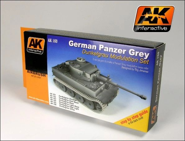German Panzer Grey Modulation Acrylic Paint Set (6 Colors) 17ml Bottles - AK Interactive 160