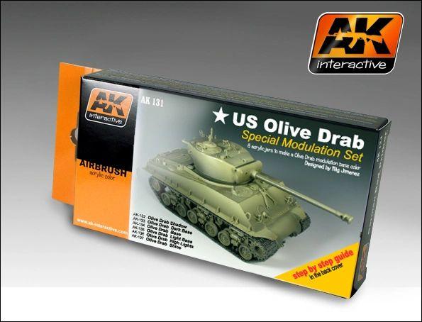 US Olive Drab Modulation Acrylic Paint Set (6 Colors) 17ml Bottles - AK Interactive 131