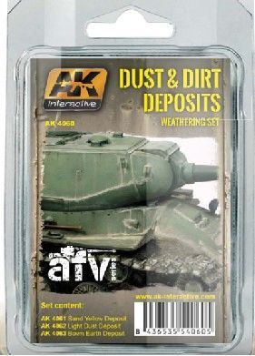 Dust & Dirt Deposits Weathering Enamel Paint Set (3 Colors) 35ml Bottle - AK Interactive 4060