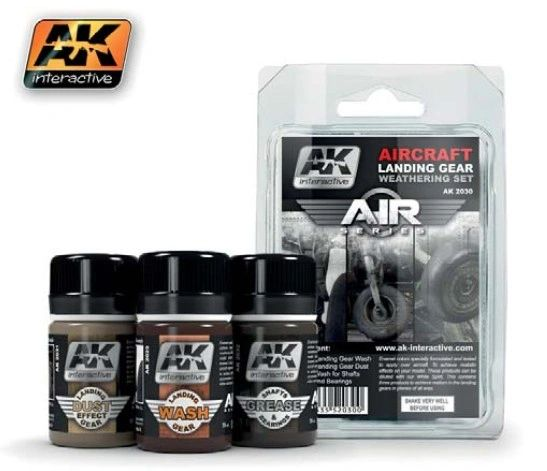 Air Series: Aircraft Landing Gear Enamel Weathering Set (3 Colors) 35ml Bottles - AK Interactive 2030