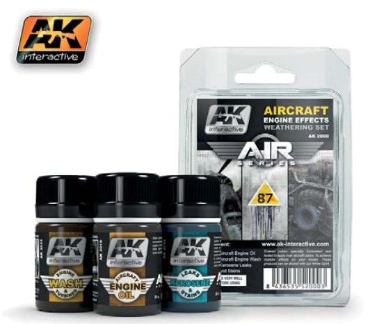 Air Series: Aircraft Engine Effects Enamel Weathering Set (3 Colors) 35ml Bottles - AK Interactive 2000