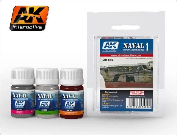 Naval Ships Weathering Vol.1 Enamel Paint Set (302, 303, 304) - AK Interactive 555