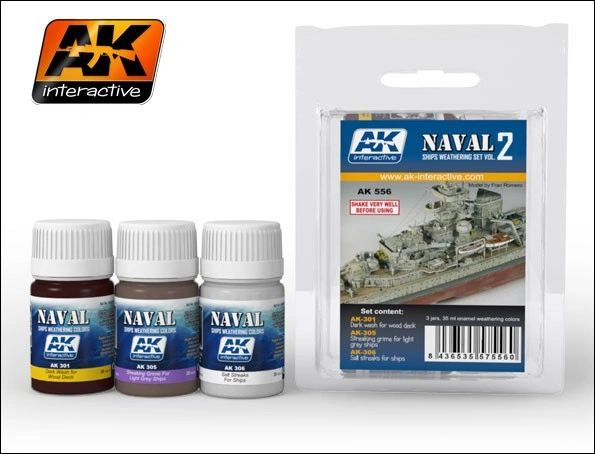Naval Ships Weathering Vol.2 Enamel Paint Set (301, 305, 306) - AK Interactive 556