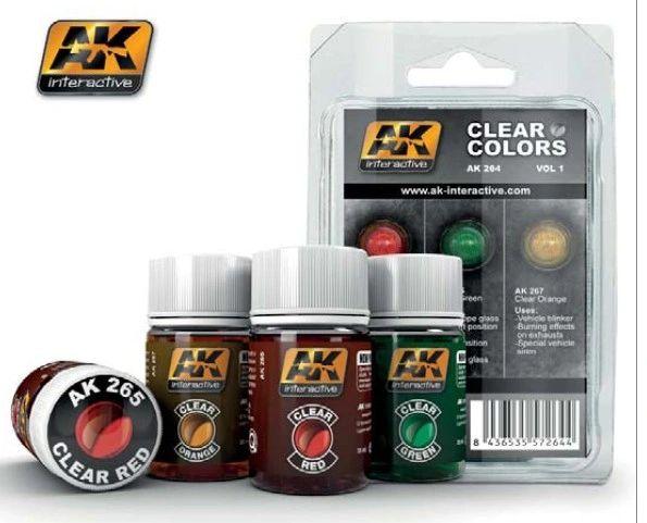 Clear Colors Enamel Paint Set Vol.1 (3) 35ml Bottle - AK Interactive 264