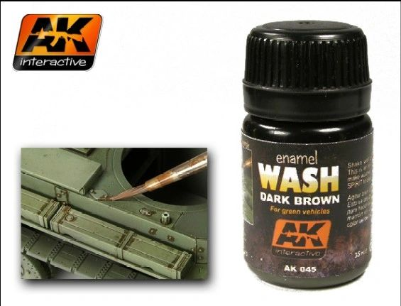 Dark Brown Wash Enamel Paint 35ml Bottle - AK Interactive 45