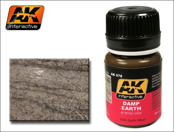 Damp Earth Satin Wash Enamel Paint 35ml Bottle - AK Interactive 78