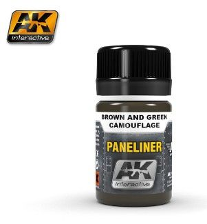 Air Series: Panel Liner Brown & Green Camouflage Enamel Paint 35ml Bottle - AK Interactive 2071