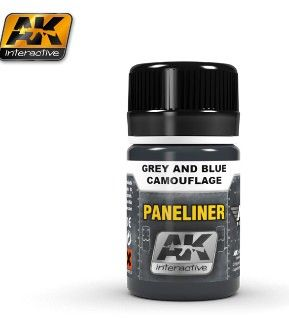 Air Series: Panel Liner Grey & Blue Camouflage Enamel Paint 35ml Bottle - AK Interactive 2072