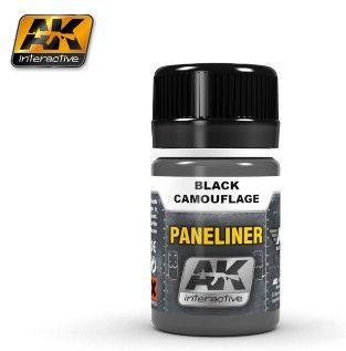 Air Series: Panel Liner Black Camouflage Enamel Paint 35ml Bottle - AK Interactive 2075