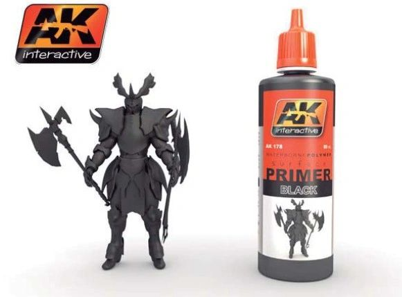 Black Acrylic Primer 60ml Bottle - AK Interactive 178