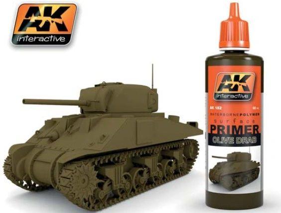 Olive Drab Acrylic Primer 60ml Bottle - AK Interactive 182