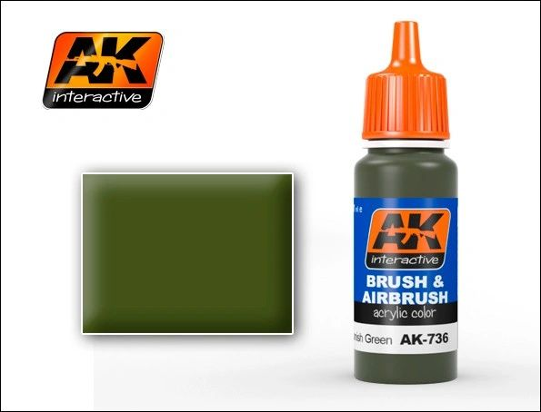 Spanish Green Acrylic Paint 17ml Bottle - AK Interactive 736