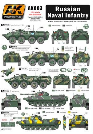 1/35 Russian Naval Infantry Wet Transfer Decals - AK Interactive 803