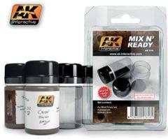 Mix N' Ready 35ml Empty Bottles w/Labels (4) - AK Interactive 616