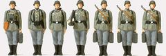 1/72 Unpainted German Reich Infantry Riflemen (7) w/Mortar - Preiser 72536