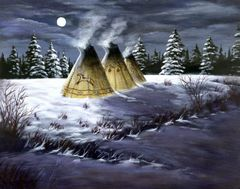 Moonlit Teepees, Signed and Matted Art Prints or as Greeting Card