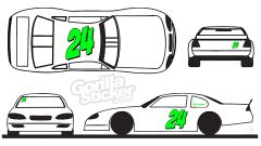 race car number set decals