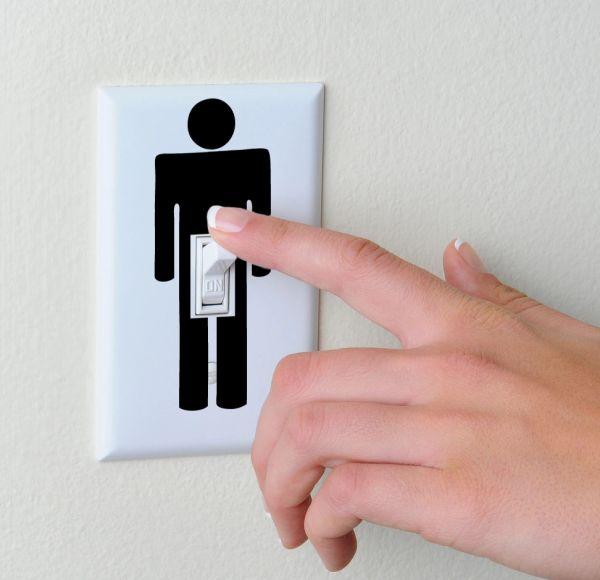 penis light switch sticker