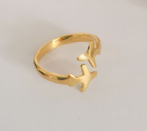 Airplanes ring, silver plated gold