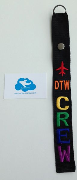 DTW Crew Luggage Tag (Pride)(Orange Plane)