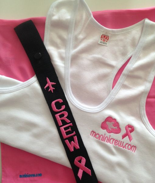 Pink Breast Cancer Awareness & moninicrew tank top and CREW luggage tag Combo