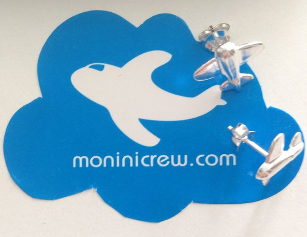 Sterling Silver tiny Airplane Earrings