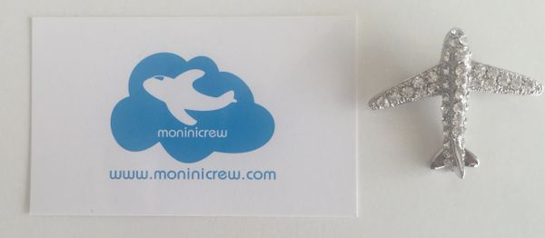 Airplane Crystal Silver Plated Lapel Pin