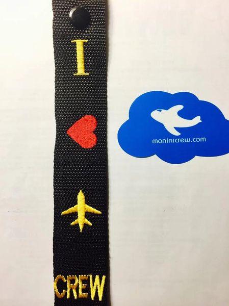 I Heart Plane Crew Luggage Tag (Yellow)