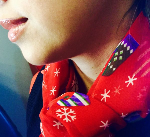 Christmas scarf red and color