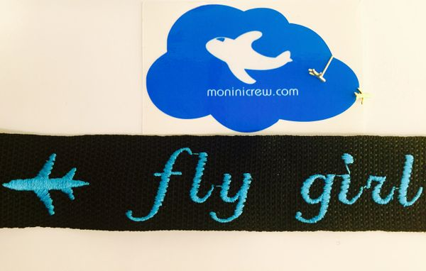 fly girl (blue) and golden airplane earrings