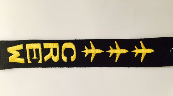Crew (3 airplanes) yellow luggage tag