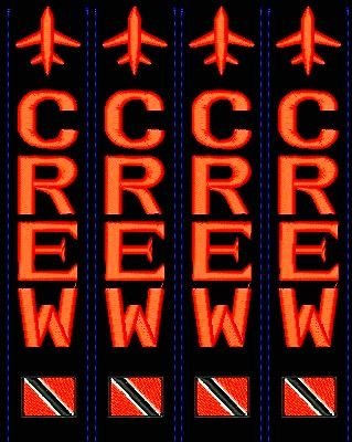 CREW Trinidad flag (red combo 4) luggage tags (4 units)