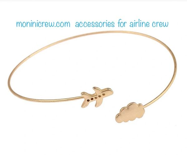 Bracelet bangle airplane and cloud (metal color gold)