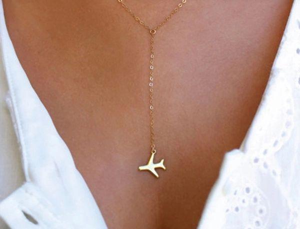 Goldish airplane necklace