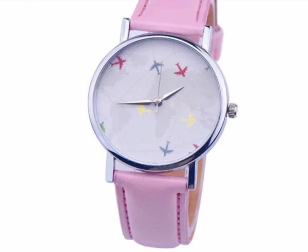 Airplane watch (pink band also available black and yellow)