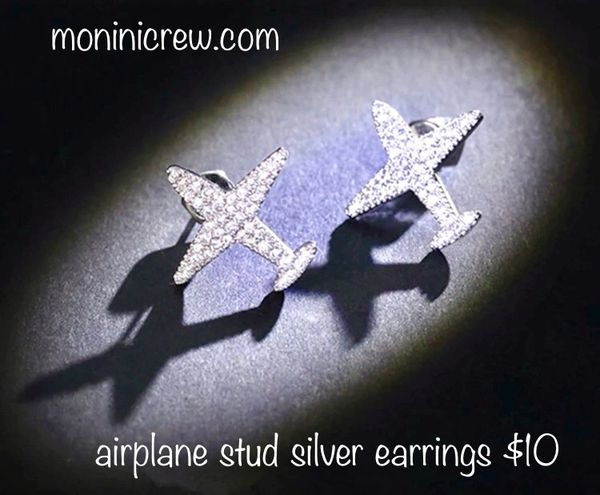 Airplane stud silver earrings