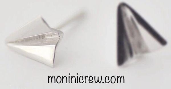 Sterling silver paper plane earrings