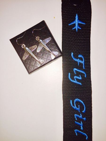 Silver long airplane earrings and fly girl luggage tag combo