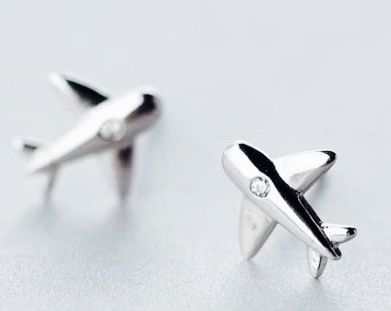 Sterling Silver airplane earrings with crystal stud