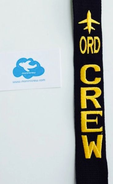 ORD CREW luggage tag (yellow with metal button