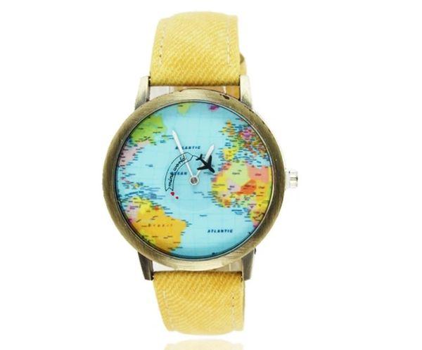 Watch airplane / world (yellow)