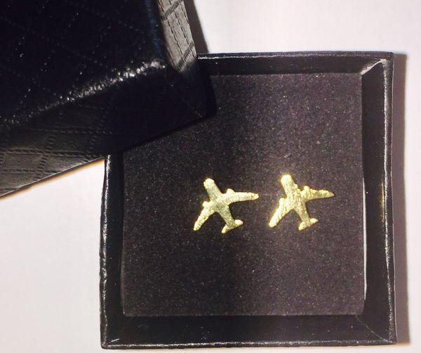 Airplane earrings (golden brass)