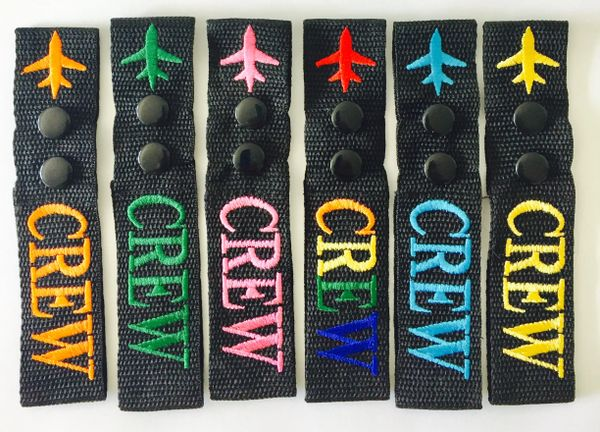 """CREW TAG COLORS ON BLACK (double button-6.5"""")"""