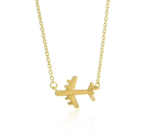 Airplane necklace (gold metal alloy)