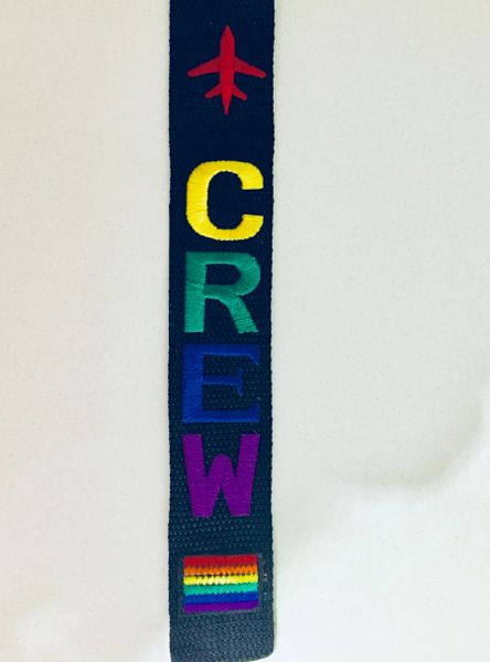 CREW pride colors with pride flag