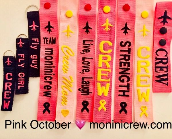 PINK OCTOBER ❤️❤️ Pink crew backpack, pink luggage tag and airplane necklace